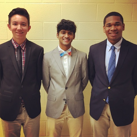 From left to right the students are Brian Schnell - Media Manager, Joshua Rajakumar - Founder and President, and Miles Waytes - Vice President